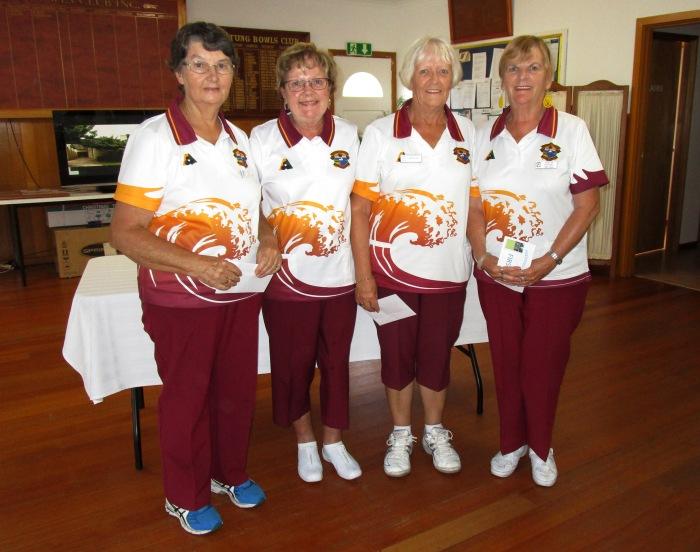 1st game winners Lorna Tiziani, L Clare, H Todd & R Natzol - Lakes Entrance
